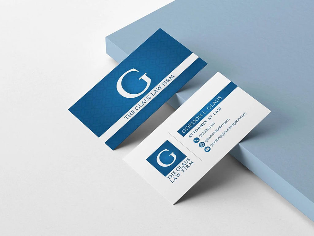 photo of the glaus firm business card design by Creative Edge