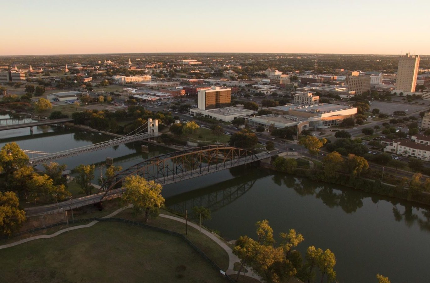aerial photo of Waco, Texas, home to Kelly Realtors