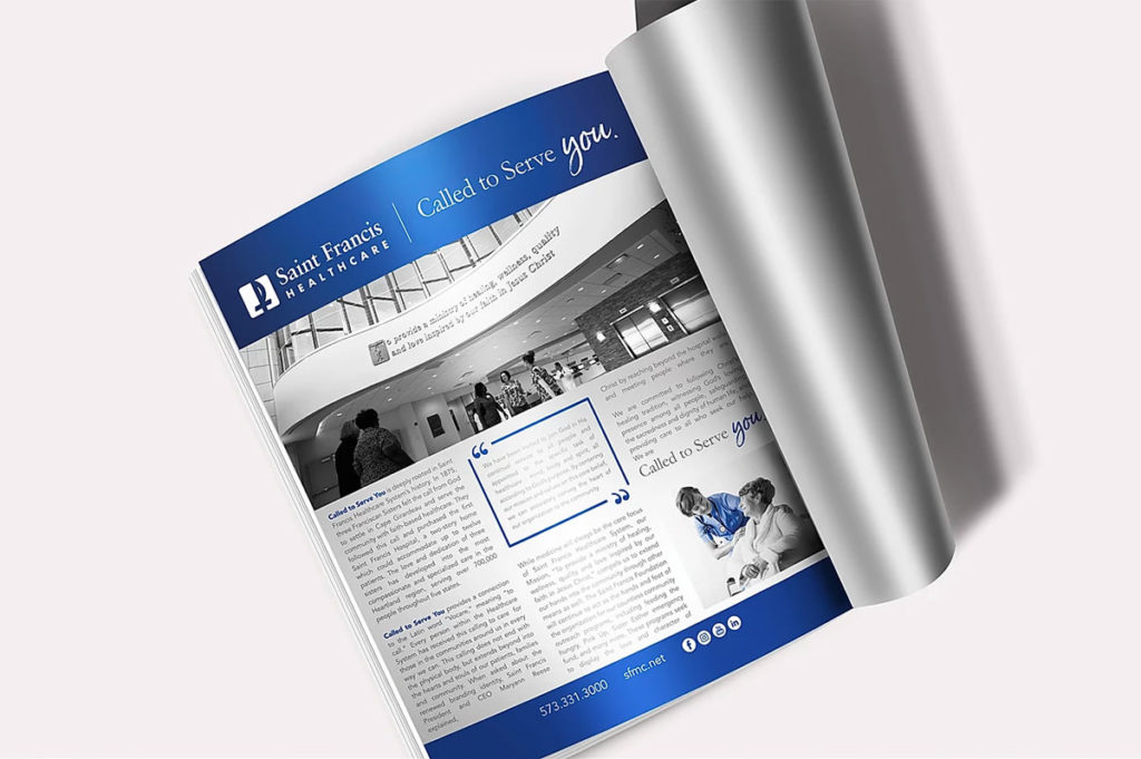 "photo of St. Francis Healthcare's ""Called to Serve You"" Magazine"