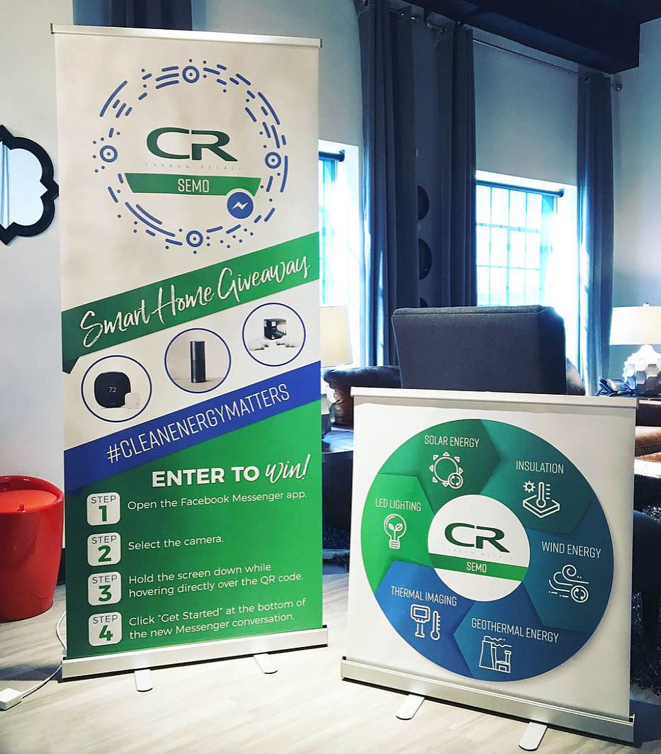 photo of the carbon recall pop up banners by creative edge