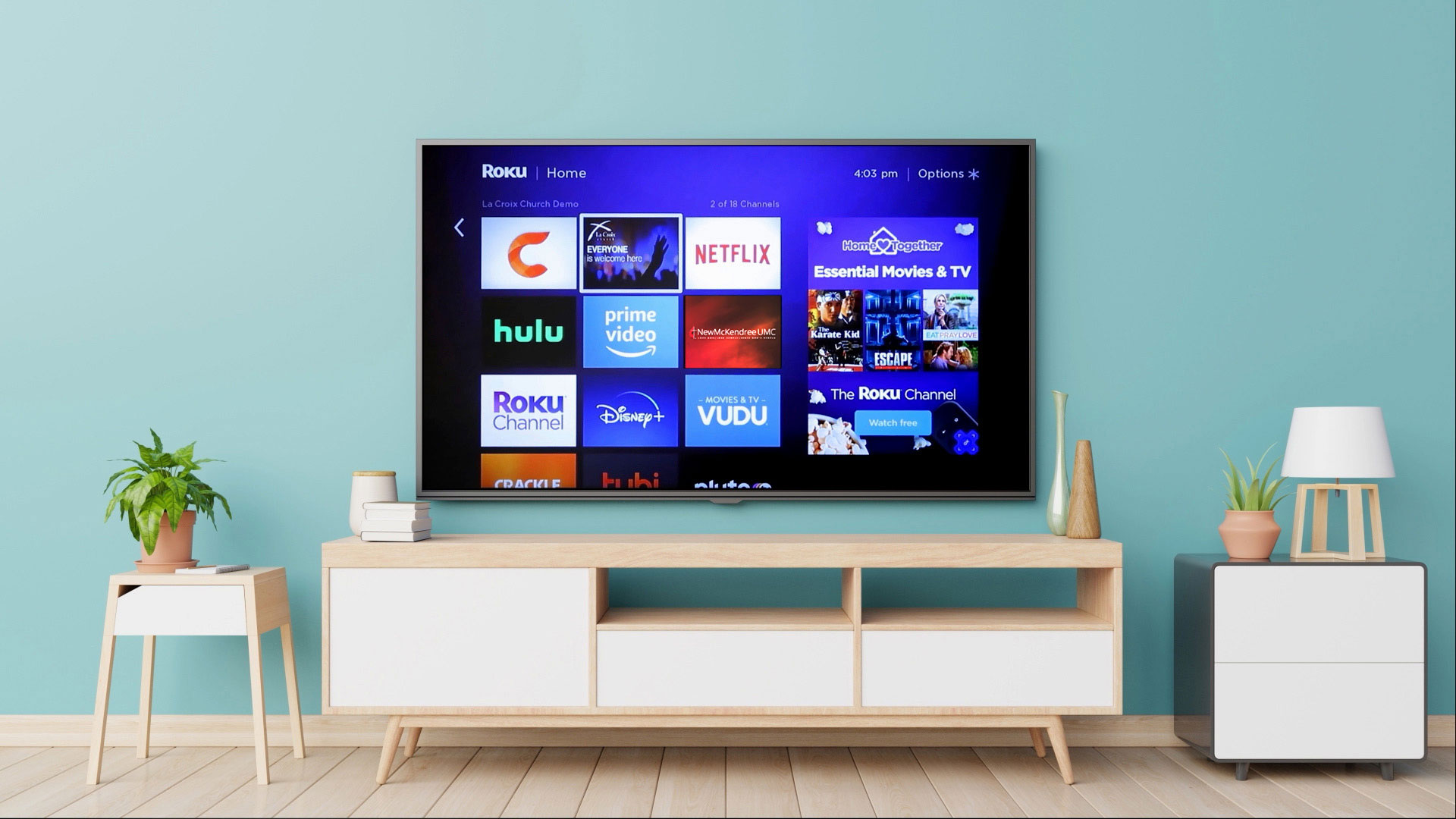 photo of creative edge inc's custom streaming tv apps on a smart tv