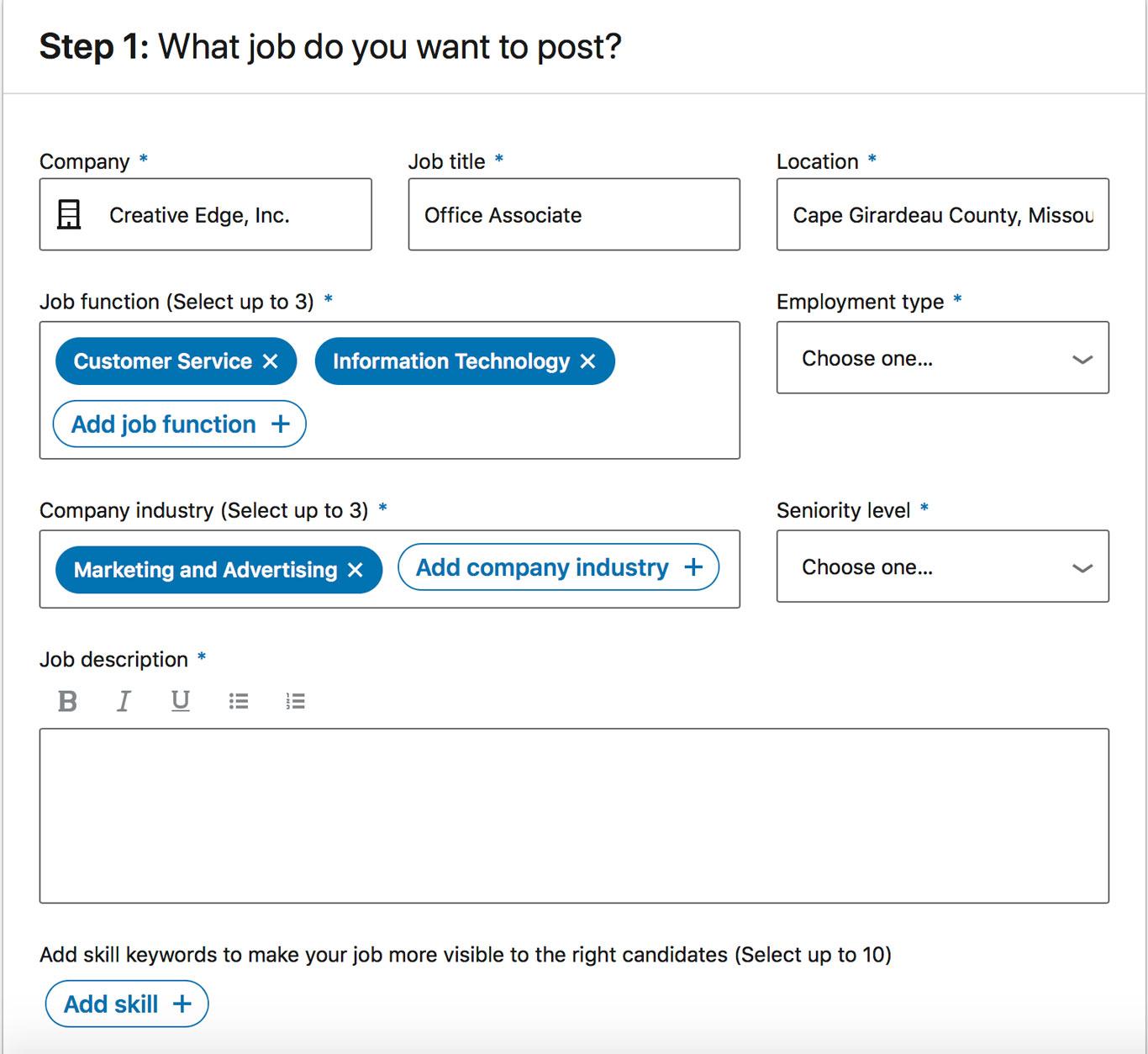 Facebook screenshot of the job post builder for an Office Associate position