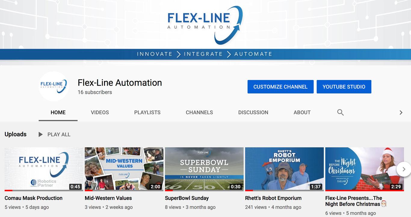 YouTube screenshot of Flex-Line Automaton's home page